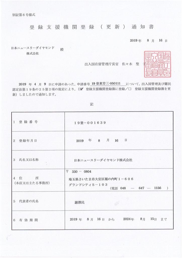 登録支援機関登録証のサムネイル